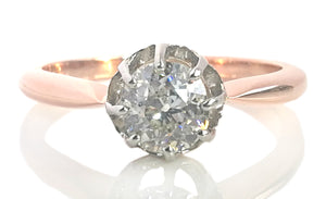 French Edwardian Antique Handmade 0.75ct Old Round Cut Diamond Engagement Ring