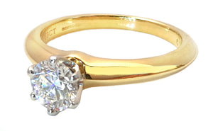 Tiffany & Co .63ct E/VVS2 Round Brilliant XXX Yellow Gold Engagement Ring K