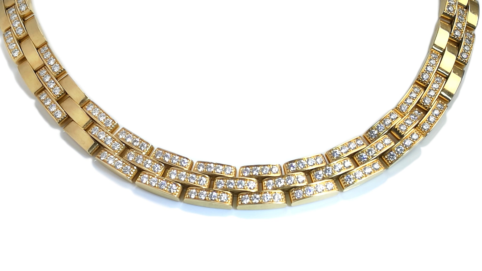 Cartier 6.0ct Maillon Panthere Diamond & 18k Yellow Gold Necklace, 16inch