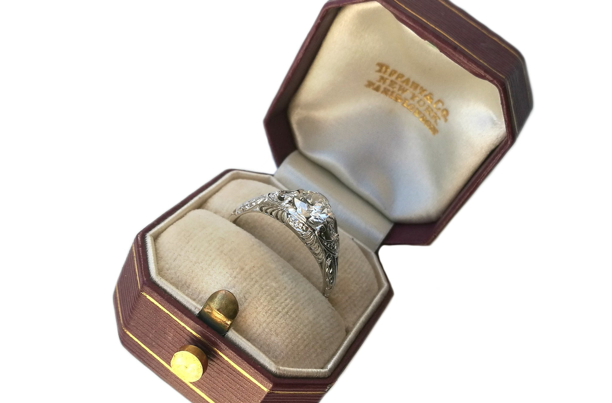 Antique Art Deco .75ct Old Cut Diamond 1920s Tiffany & Co Engagement Ring Box
