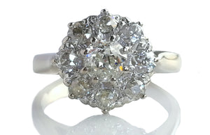 Antique Edwardian Handmade 1.07ct Old Cut Cluster Diamond Engagement Ring