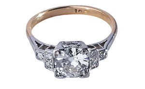 Original Art Deco Handmade 1.10ct Round Old Cut Diamond Engagement Ring N 1/2