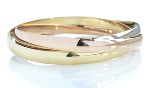 French Heavy Trinity Bracelet in 18k Yellow, Rose & White Gold