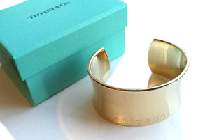 "Tiffany & Co 1837 18k Gold Bangle Cuff Bracelet 16 cms (6.3"")"