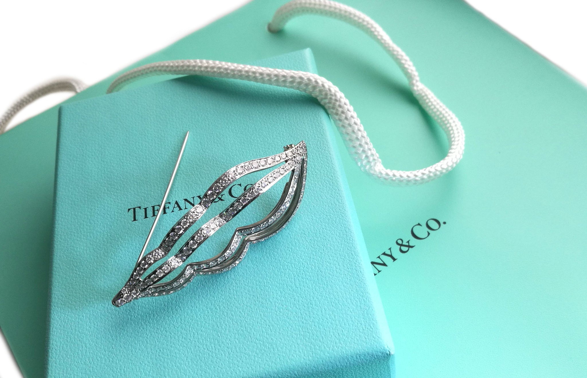 Tiffany & Co 2ct Diamond Platinum Whelk Sea Shell Brooch Box