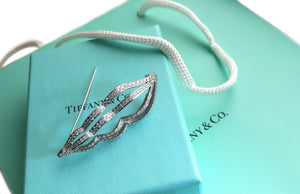 Tiffany & Co 2ct Diamond Platinum Whelk Seashell Brooch Box