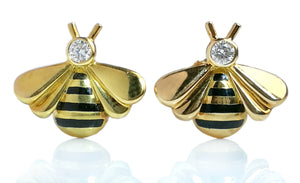 Vintage Cartier Diamond & 18k Gold Bumble Bee Earrings