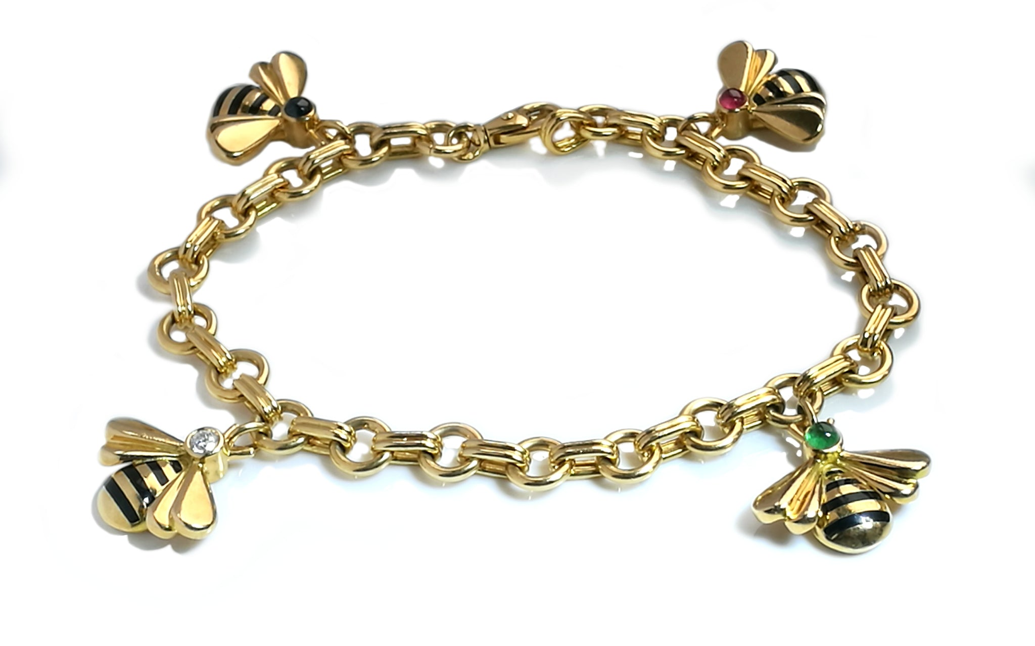 Vintage 1990 Cartier Bumble Bee Diamond Charm Bracelet 18k Yellow Gold 7 inch