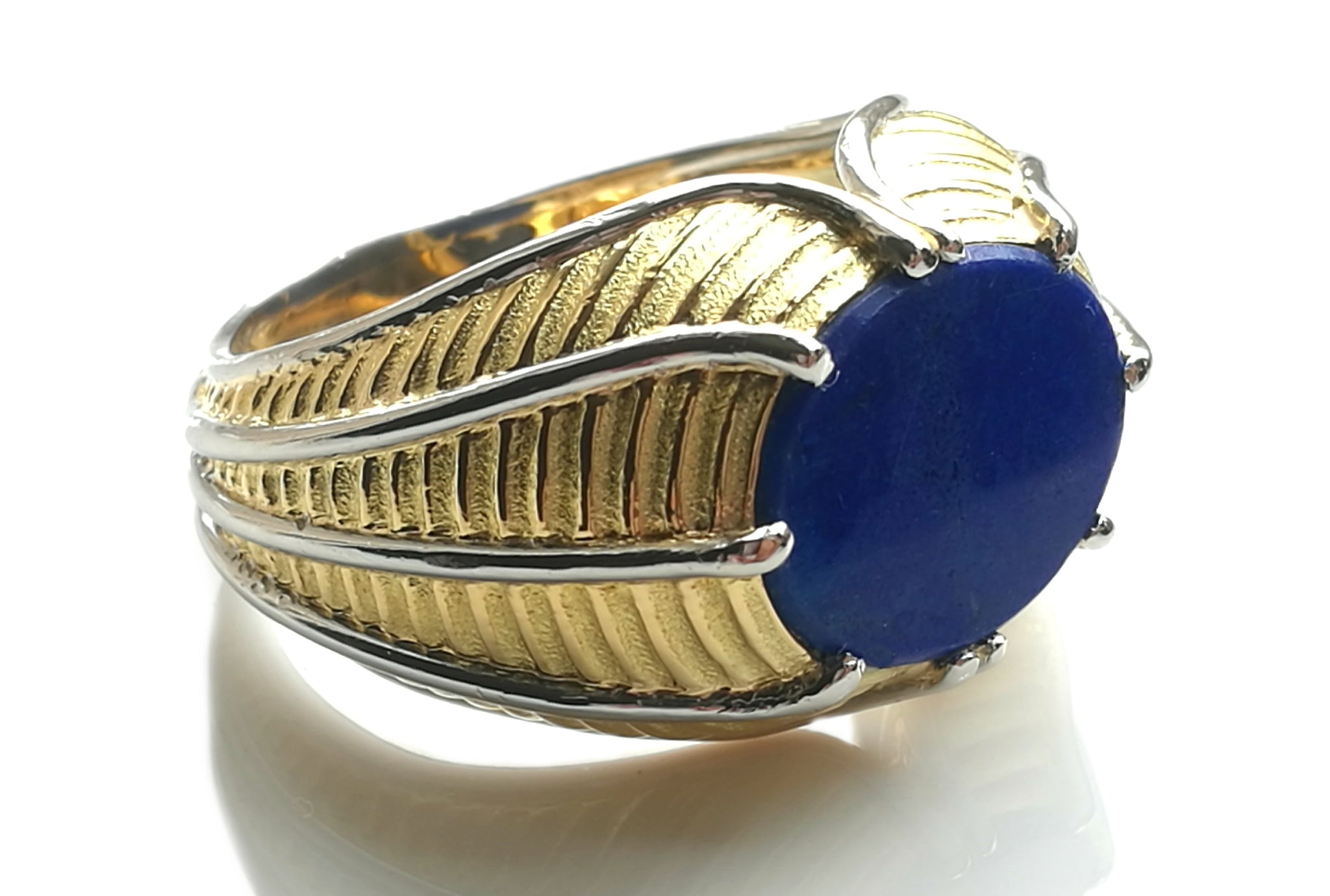 Vintage Tiffany & Co. Schlumberger Mens Lapis Lazuli & 18k Yellow Gold Ring, Size T