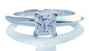 Tiffany & Co .50ct E/IF Princess Cut Diamond Engagement Ring