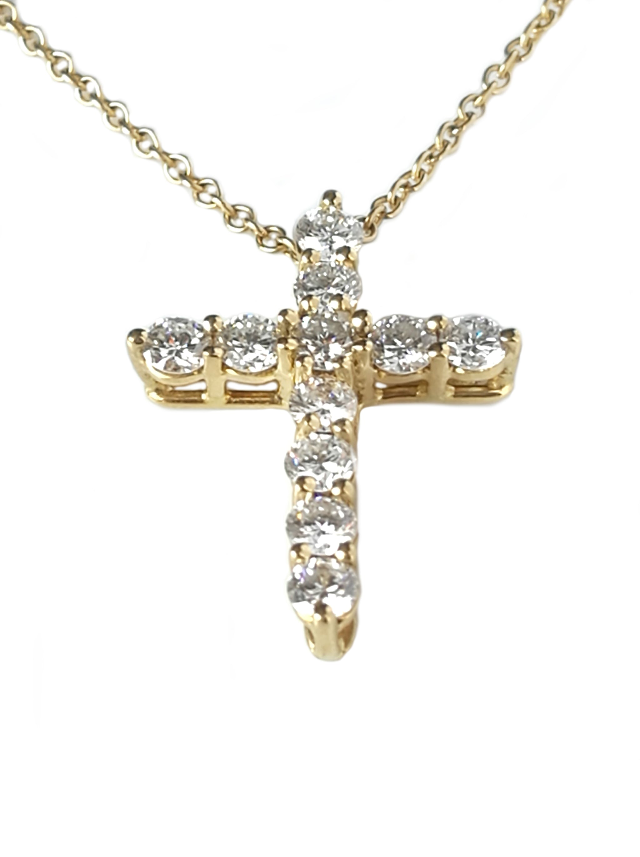 Tiffany & Co. 0.42ct Diamond and 18k Yellow Gold Cross Pendant, 16 inch