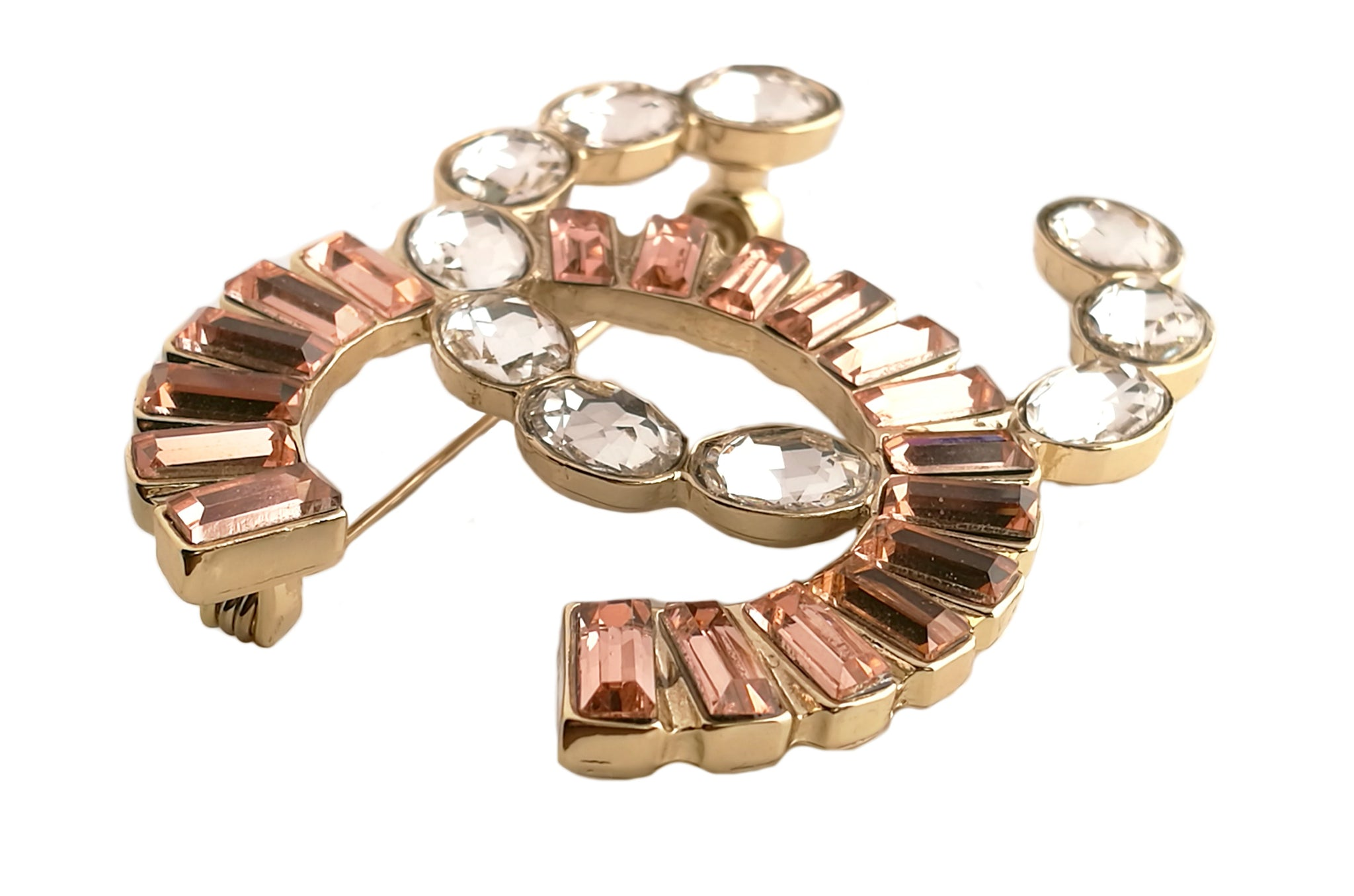 Chanel Salmon Pink Diamante Brooch 2017 Autumn Winter
