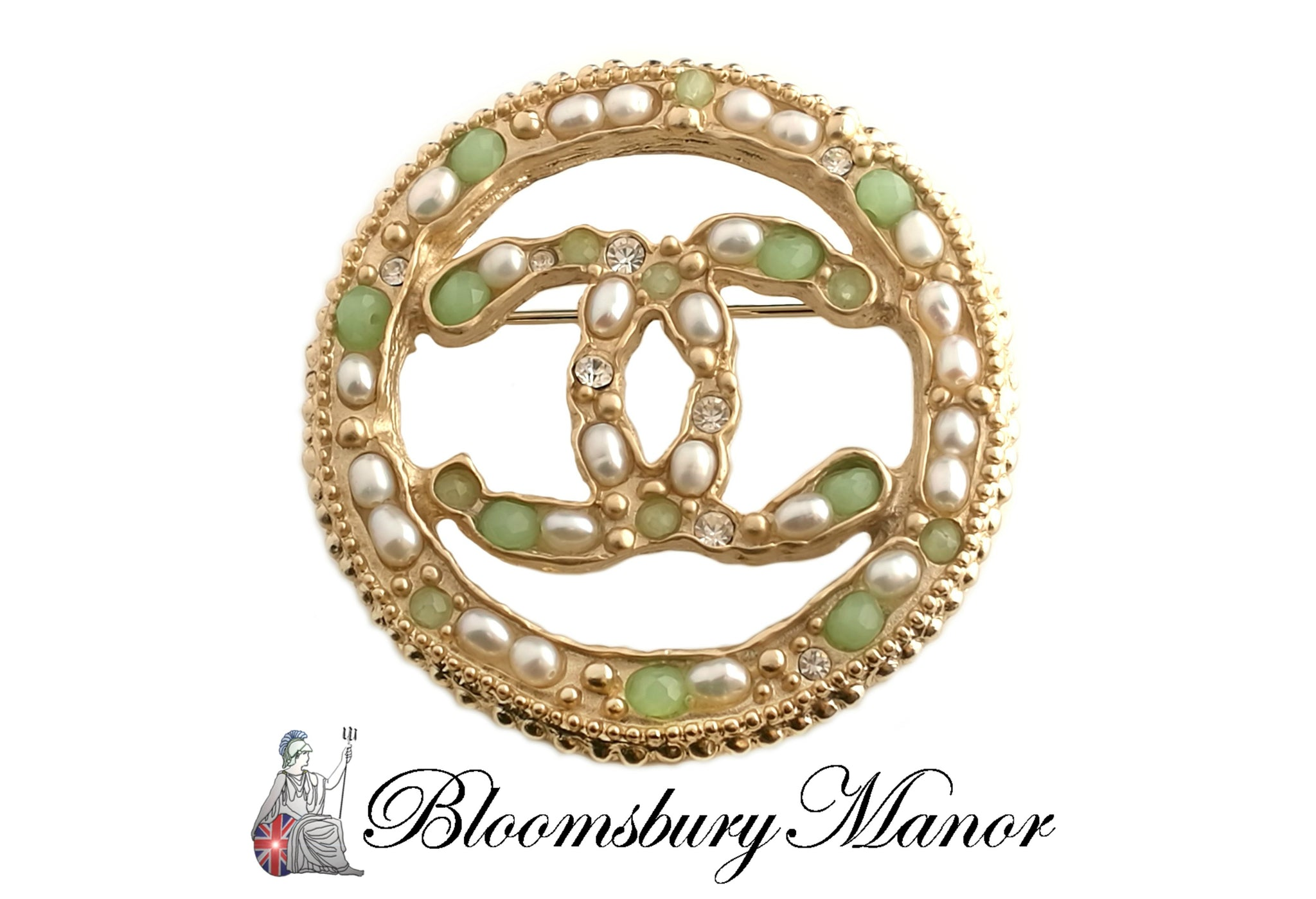 Chanel Green Stone and Seed Pearl CC Circle Brooch 2018A
