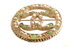 Chanel Green Stone and Imitation Seed Pearl CC Circle Brooch 2018A