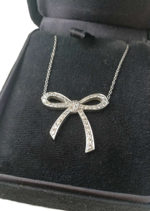 Tiffany & Co. 0.27ct Diamond & Platinum Bow Pendant / Necklace, RRP £3,450