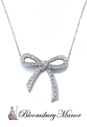 Tiffany & Co Bow Diamond Necklace .27ct Platinum 16 in