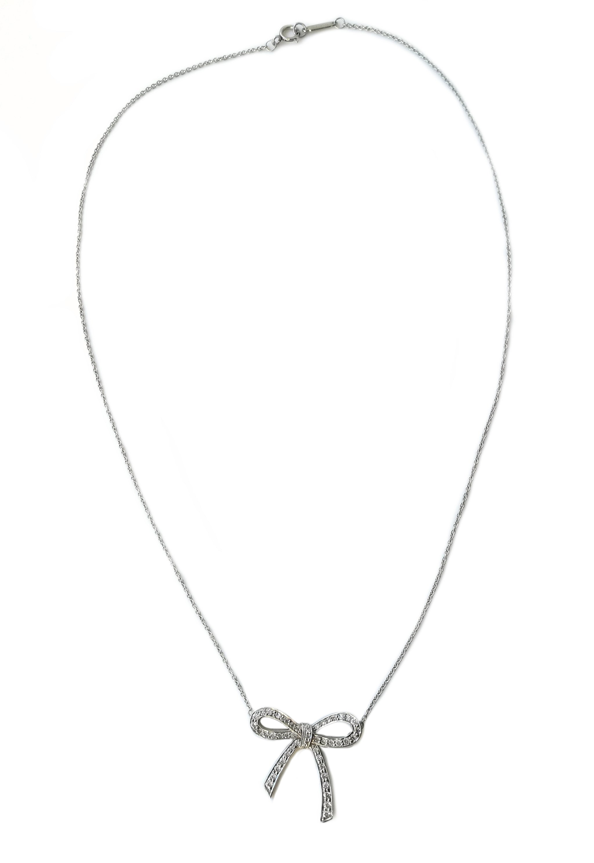3c7d911ac8344 Tiffany & Co Bow Diamond Necklace .27ct Platinum 16 in