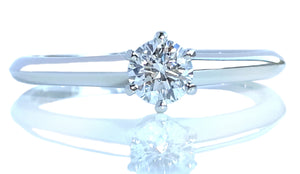 Tiffany & Co .24ct G/VS Round Brilliant Cut Diamond Engagement Ring K 1/2