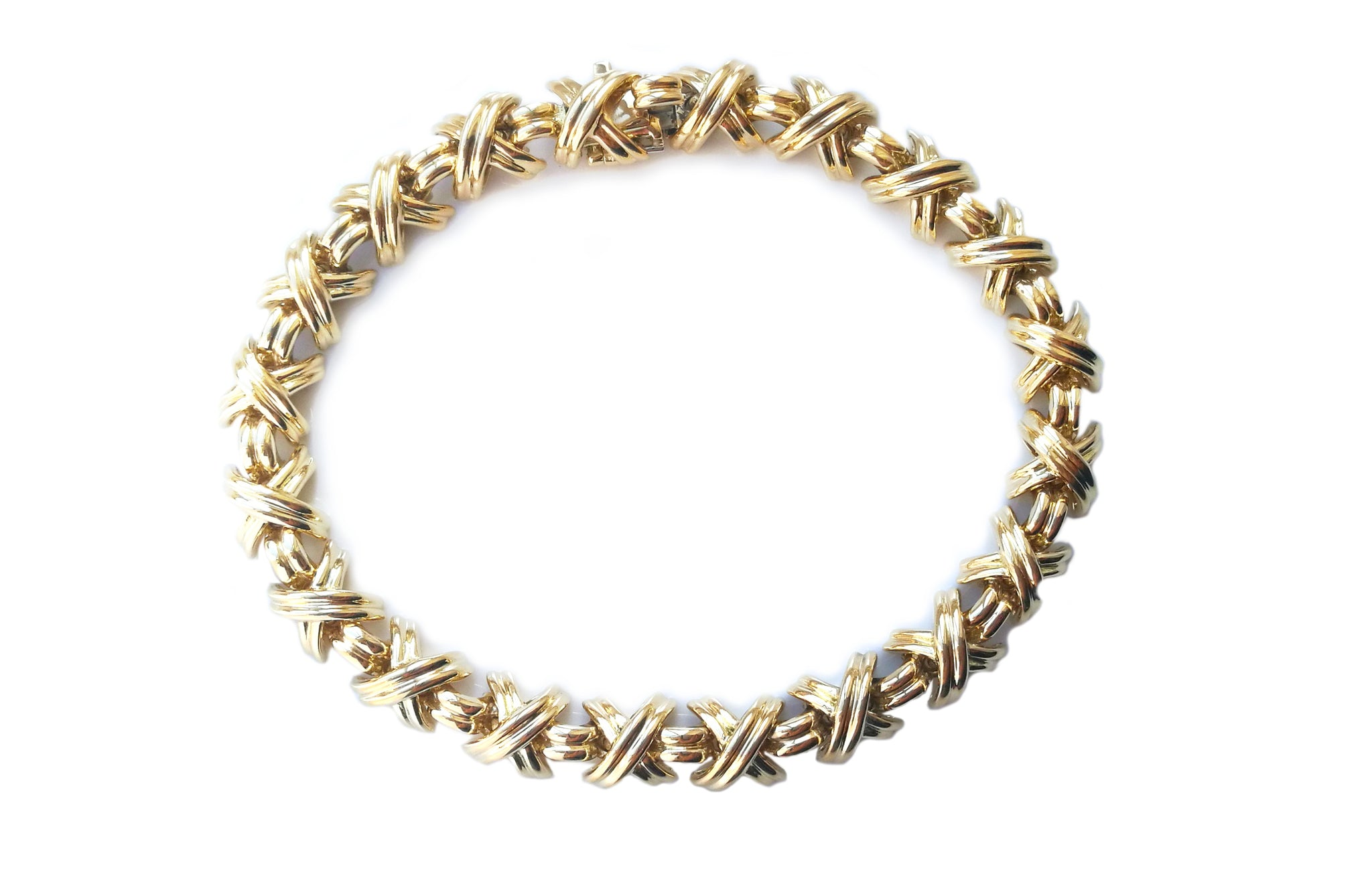 Vintage Tiffany & Co Signature X Bracelet 18k Yellow Gold 8 inches 31g