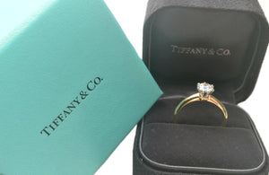 Tiffany & Co. 0.72 H/VS1 Round Brilliant Diamond & 18K Yellow Gold Engagement Ring