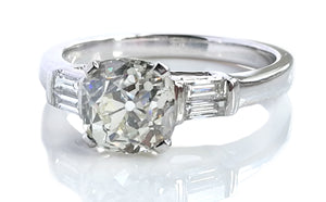 Antique 1.73 J/SI1 Old Cushion Cut Diamond Engagement 18k Gold Ring Baguette