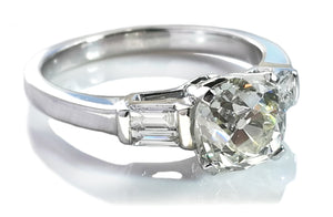 Antique 1.73ct J/SI1 Old Cushion Cut Diamond Engagement Ring in 18k Gold