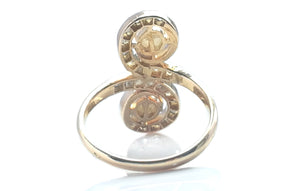Antique French Belle Epoque Twin Pearl & Diamond Ring in 18k Yellow Gold