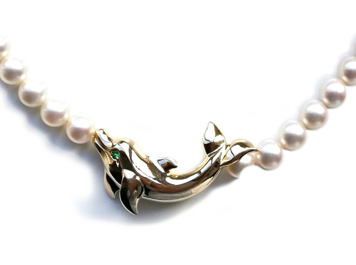 Cartier 18k Yellow Gold Cultured Pearl Tzavorite Dolphin Necklace 18 in