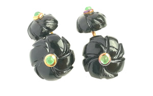 Original Art Deco Onyx Emerald Flower Men's Cufflinks