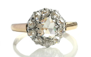 Victorian Old Rose Cut 1.08tcw Diamond 18k Yellow Gold Cluster Engagement Ring