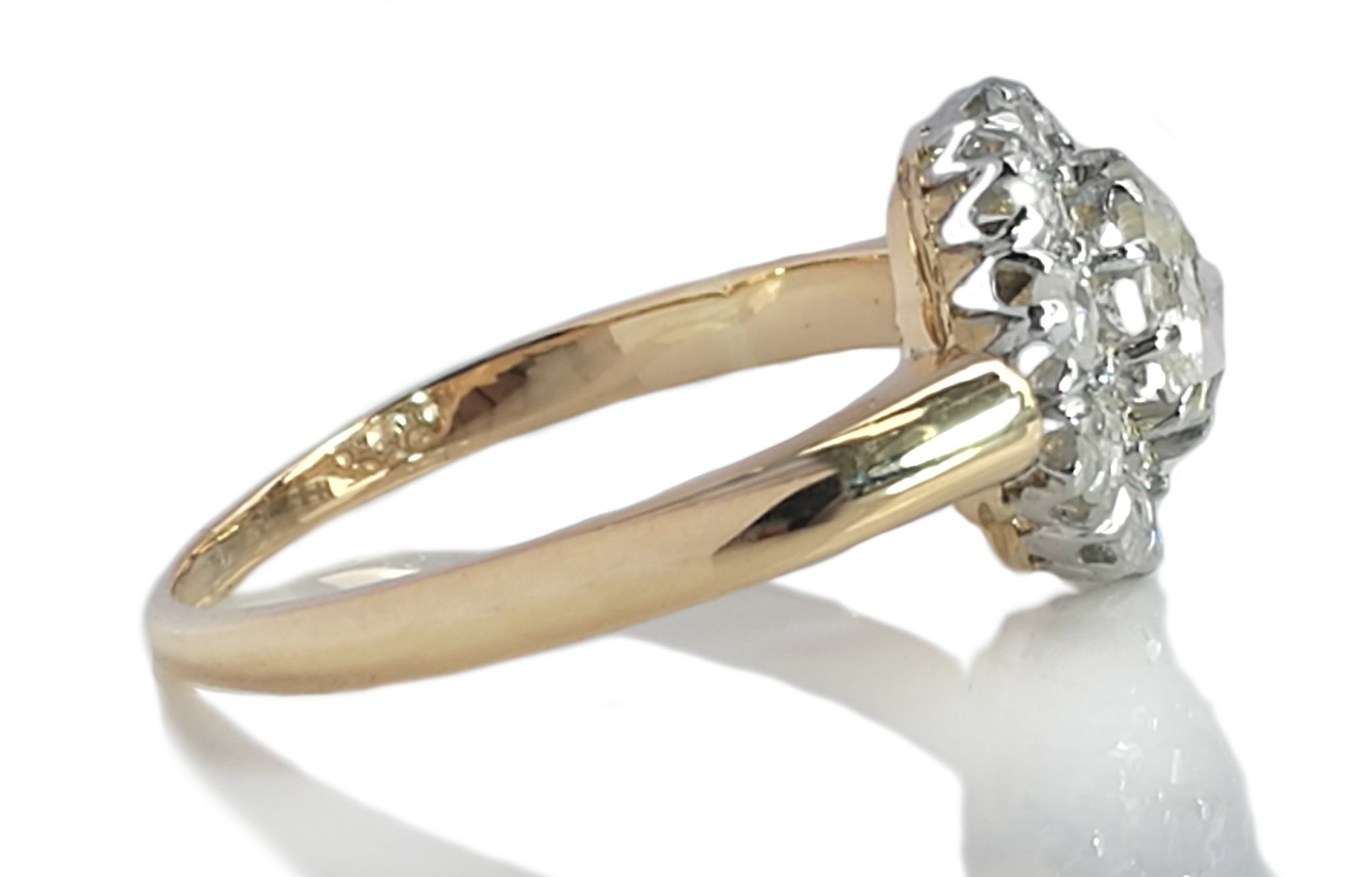 Victorian 1.08tcw Old Rose Cut Diamond & 18k Yellow Gold Cluster Engagement Ring