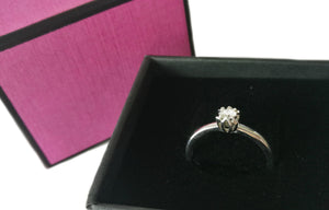 Brand New 18k White Gold .10ct Round Brilliant Diamond Engagement Ring SZ N