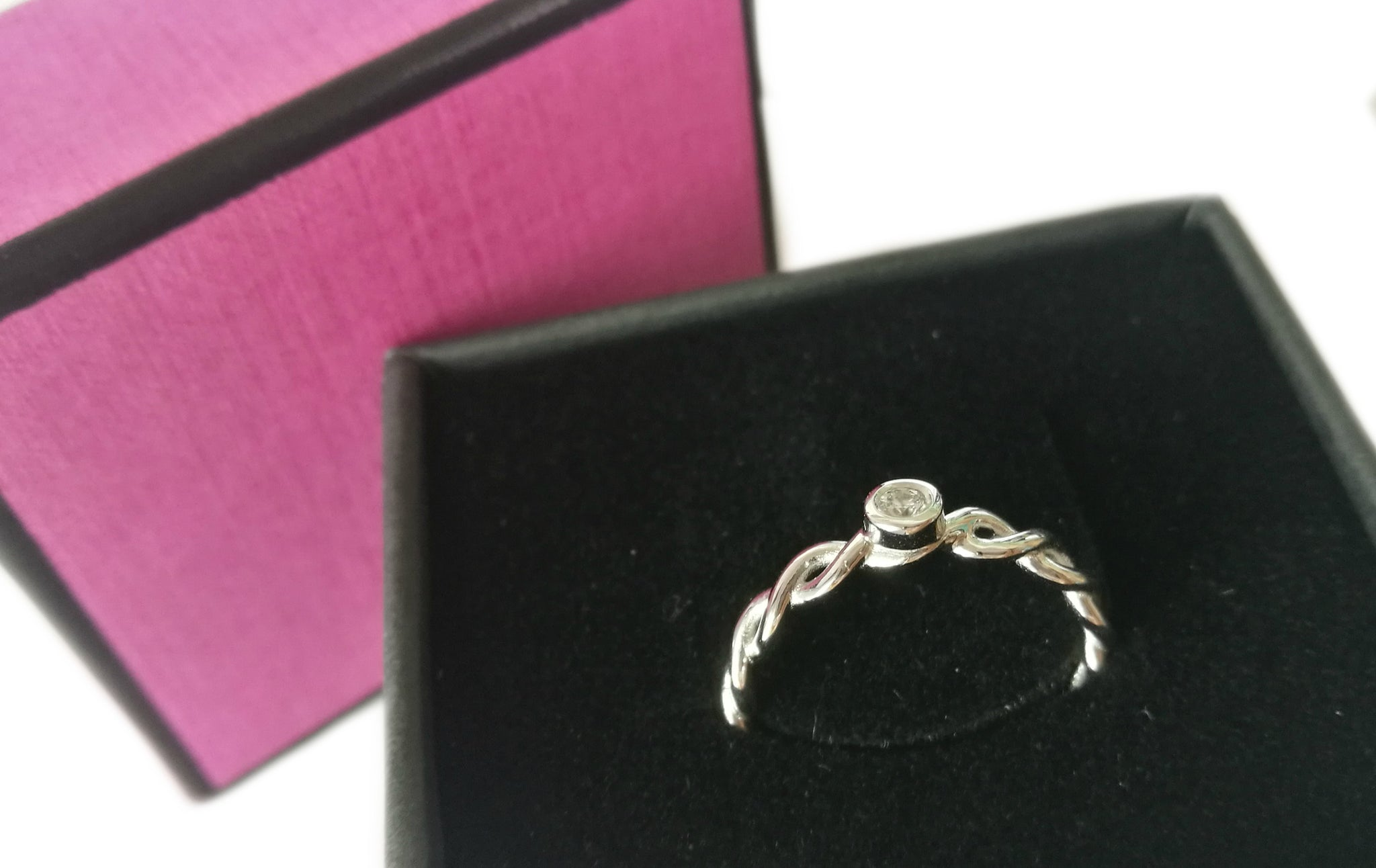Brand New French 0.06ct Round Brilliant Diamond Engagement Ring in 18k White Gold