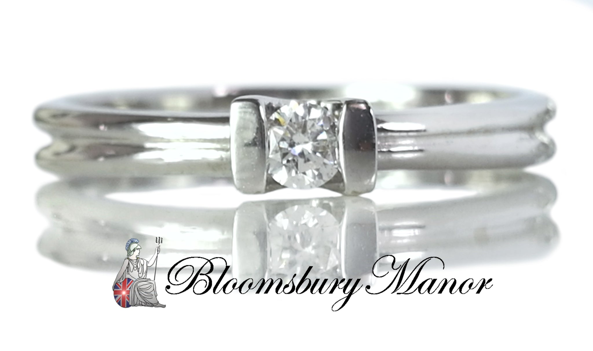 Brand New .10ct 118k White Gold French Diamond Engagement Ring SZ N Resizing