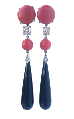 Old European Cut 0.8tcw Diamond Art Deco Style 18k Onyx Vintage Coral Pendant Earrings