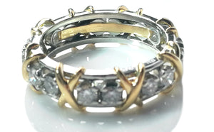 Tiffany & Co. Sixteen Stone Diamond Gold & Platinum Schlumberger Ring, Size P