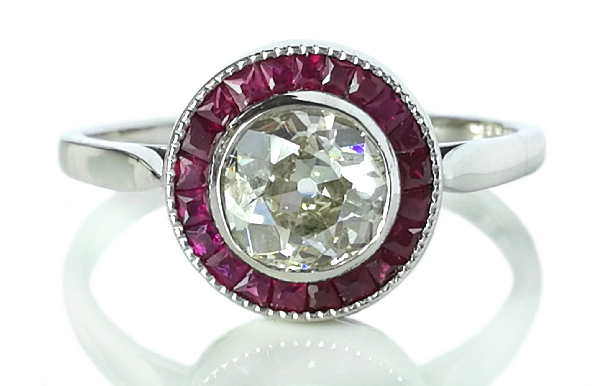 Art Deco 1930s French 1.20ct Diamond & Ruby Halo Target Engagement Ring in Platinum