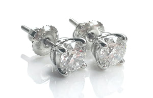 Tiffany & Co. 1.48tcw E/VS1/VS2 Round Brilliant Diamond Platinum Stud Earrings