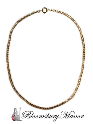 French Antique Victorian 18k Yellow Gold 4mm Flat Curb Link Chain Necklace 16in 16.6g