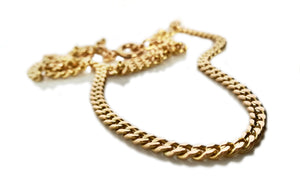 French Antique Victorian 18k Yellow Gold 4mm Flat Curb Link Chain Necklace