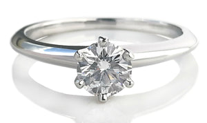 Tiffany & Co .38ct G/VS Round Brilliant Diamond Engagement Ring Sz J