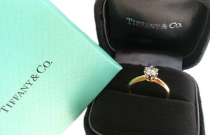 Tiffany & Co .50ct H/VVS2 Round Brilliant 18k Yellow Gold Engagement Ring SZ I