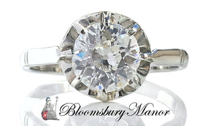 Old Cut 1.50ct Antique Handmade Diamond Platinum Engagement Ring M 1/2