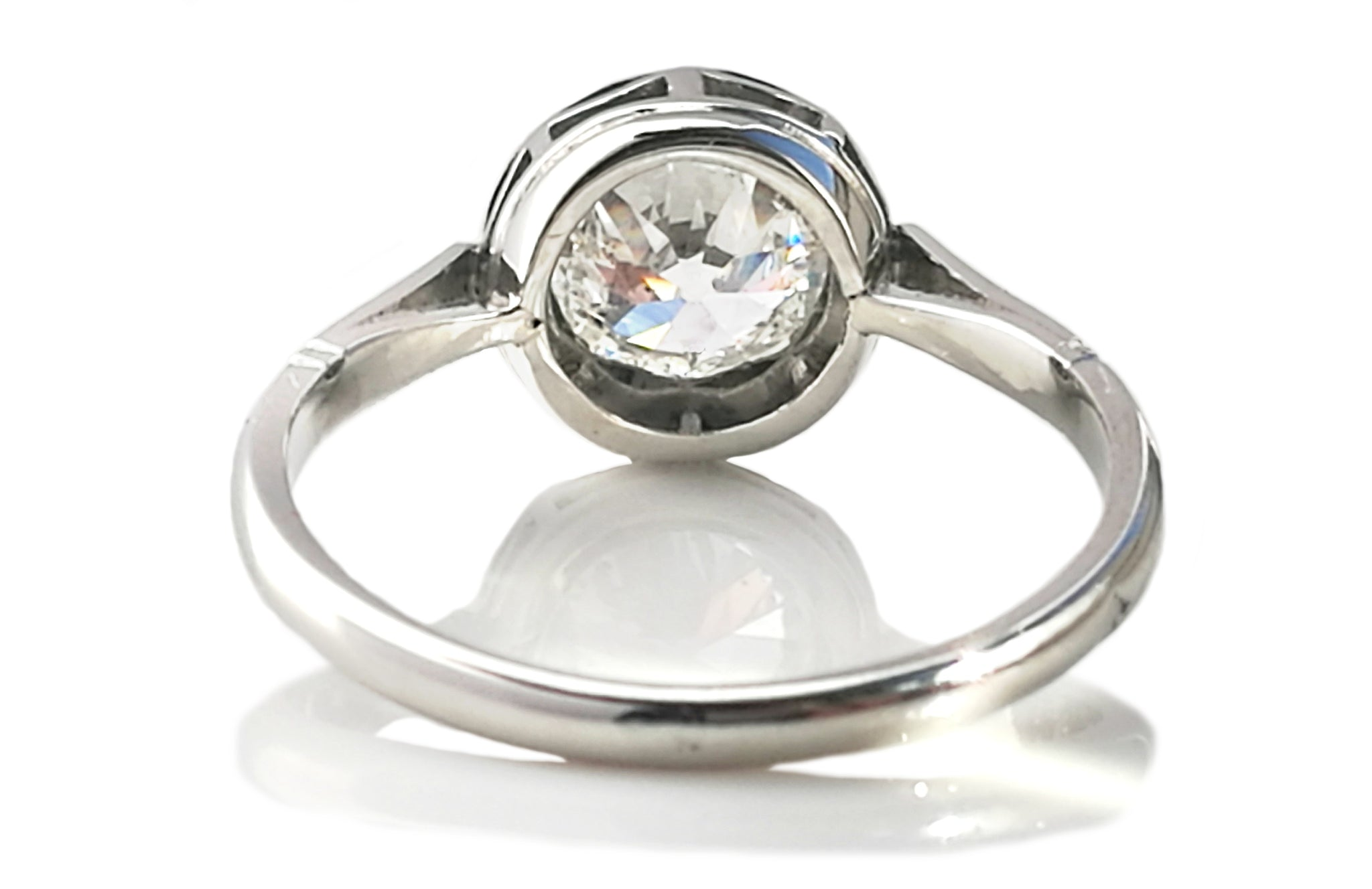 Antique Handmade French 1.50ct Old Cut Diamond Buttercup Engagement Ring in Platinum