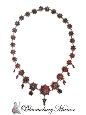 Vintage Antique Bohemian 1890 Garnet Necklace 19 in
