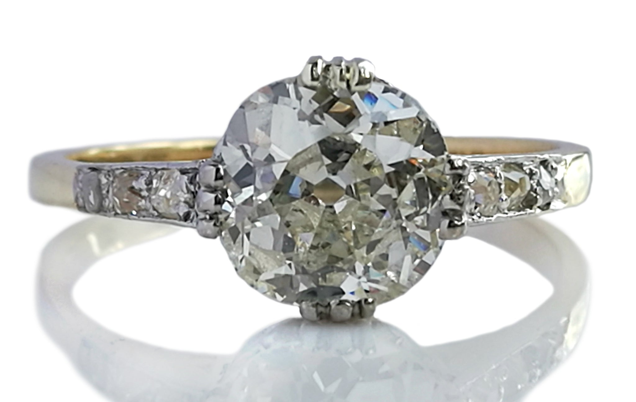 Antique Victorian 1.45ct Old Cut Diamond 14k Gold Engagement Ring
