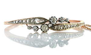 Victorian French 1.35tcw Old Cut & Rose Cut Diamond Bangle in 18k Rose Gold