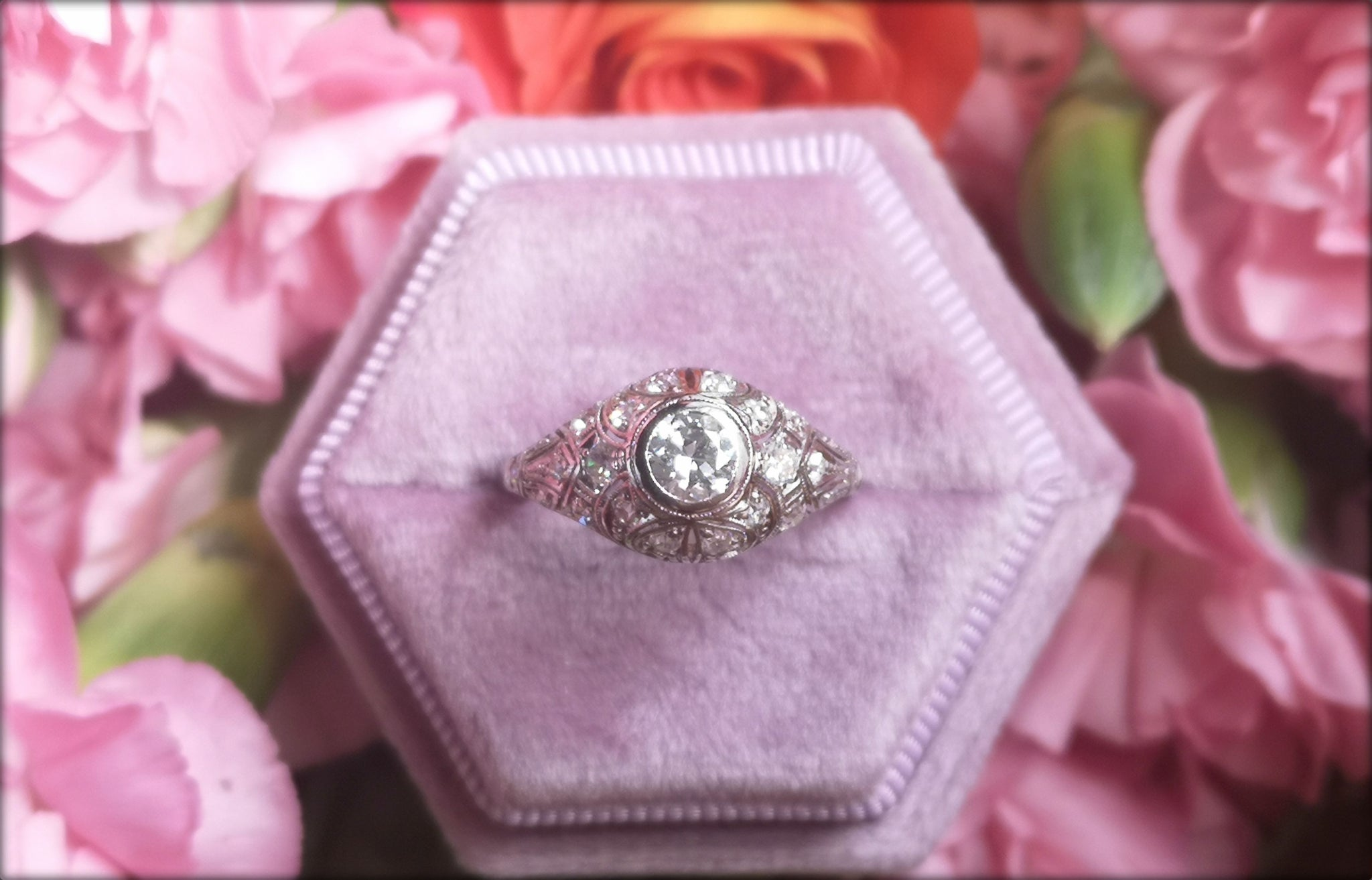 Art Deco 1920s 0.75tcw G/VS Old Cut Diamond Engagement Ring in Platinum