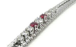 1960s Vintage 2.34tcw Diamond & Ruby Herringbone Bracelet in 14k White Gold