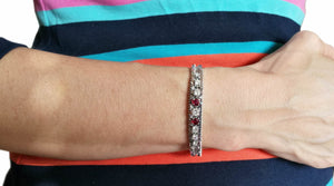 1960s Vintage 2.34tcw Diamond & Ruby Herringbone Bracelet on wrist